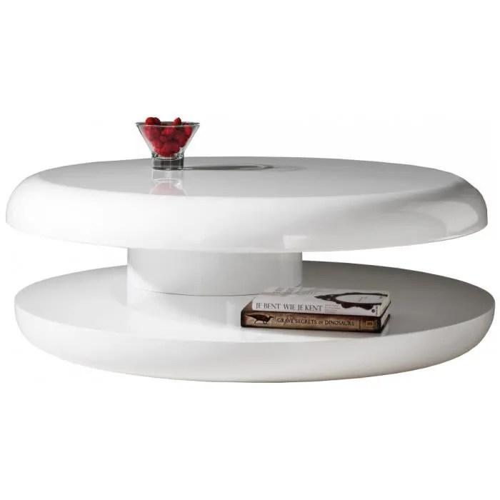 Table Basse Design Ronde Laque Blanche Plateau Tournant