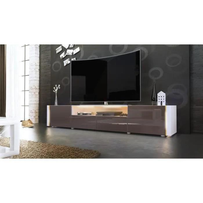 Meuble TV Blanc Et Chocolat Sans LED Achat Vente