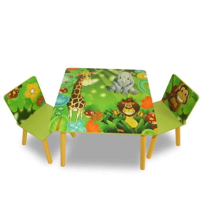 ensemble table 2 chaises vert pour enfant