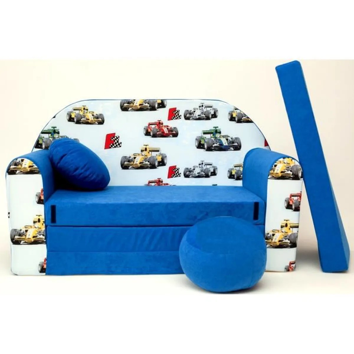 Canape Sofa Enfant 2 Places Convertible Formule1 F1 Bleu
