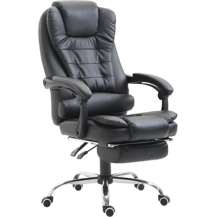fauteuil de bureau manager grand confort repose pied integre dossier inclinable similicuir noir 82bk 65x69x117 127cm noir