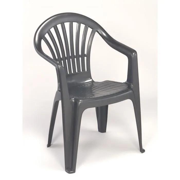 lot 12 fauteuils jardin plastique gris empilables tiny