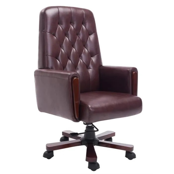 fauteuil de bureau chesterfield chaise marron en cuir artificiel 69 x 78 x 120 127 cm