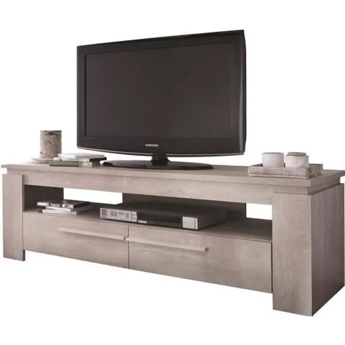 meuble tv avec un etagere ouvert et 2 tiroirs