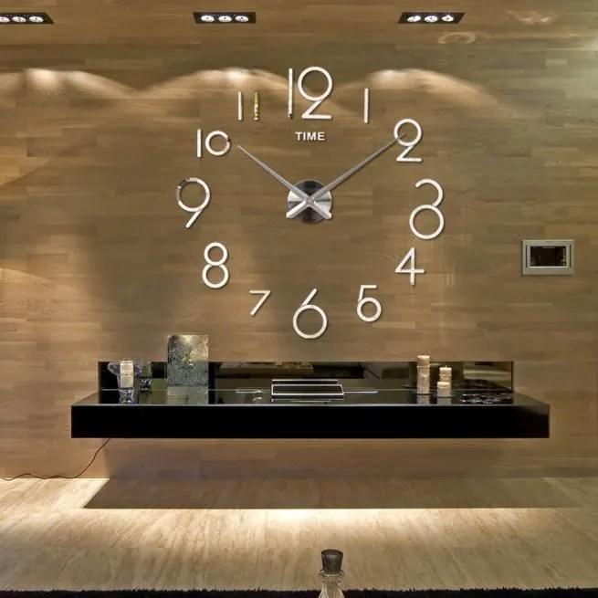 horloge de mur salon diy 3d maison decoration miroir grand art design argent