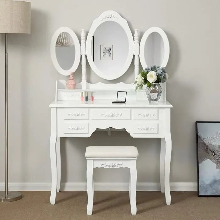 Songmics Coiffeuse Table De Maquillage Grande Commode