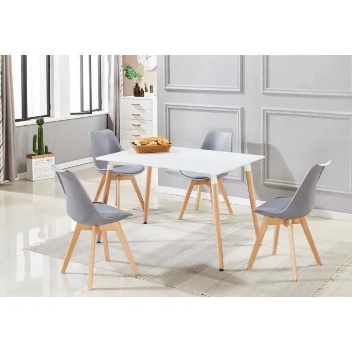 salle a manger lorenzo ensemble complete table et 4 chaise de couleur gris design scandinave cuisine et petit dejeuner reunion cafe