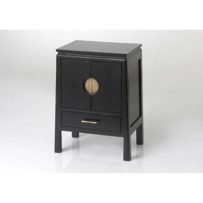chevet asiatique 1 tiroir 2 portes noir estampe noir