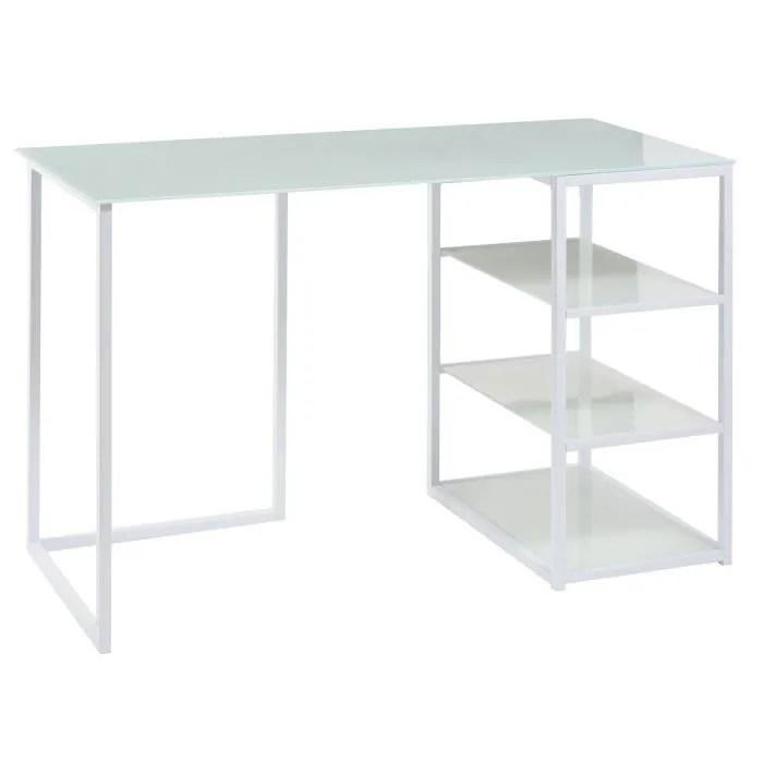 glass bureau contemporain en metal et verre trempe blanc mat l 120 cm