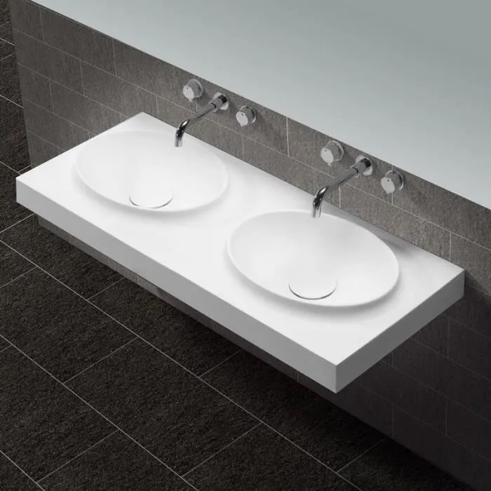 lavabo suspendu double vasque moulees blanc mat 120x50cm composite origin