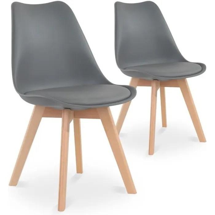 lot de 2 chaises style scandinave catherina gris achat vente chaise gris soldes des le 9 janvier cdiscount