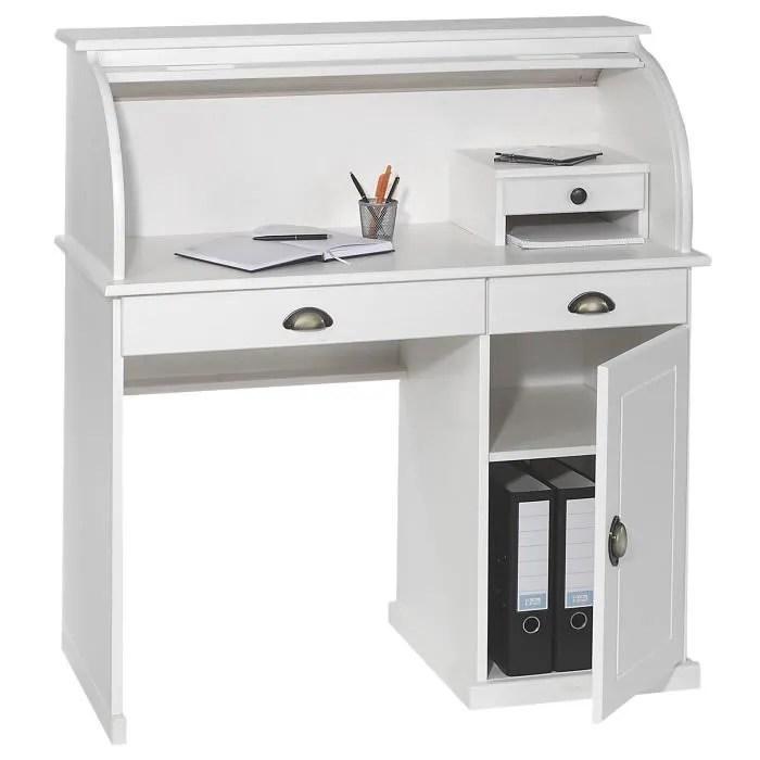 bureau secretaire dallas avec volet roulant rangement 3 tiroirs et tablette pin massif lasure blanc