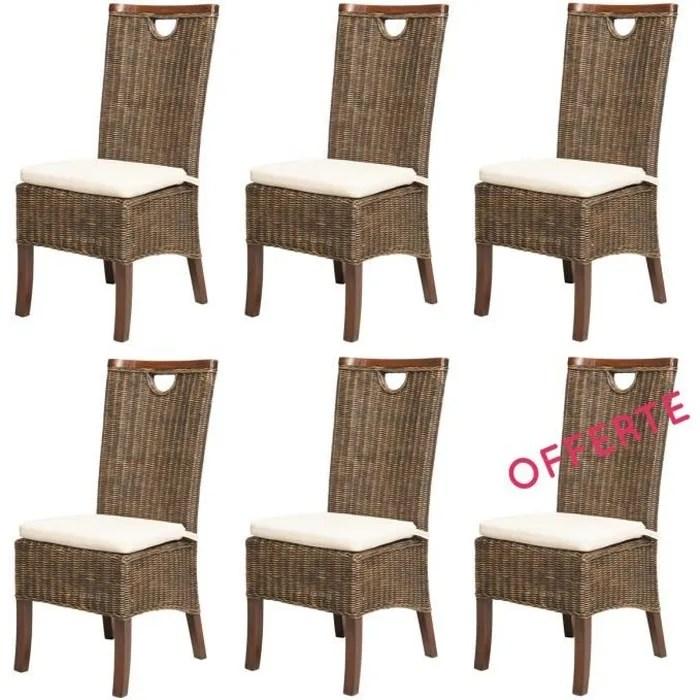chaise lot 6 chaises racine moka rotin