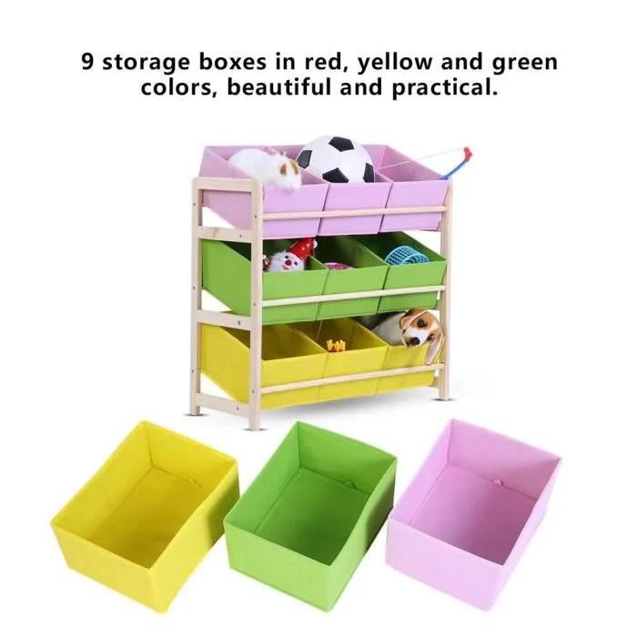 meuble de rangement pour jouets etagere de jouets pour chambre d enfant 3 niveaux 9 boites en tissu