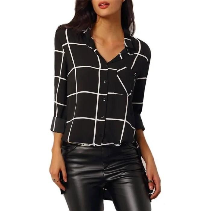 2016 Mode DEt Automne Chic Femme Chemise Carreaux Noir