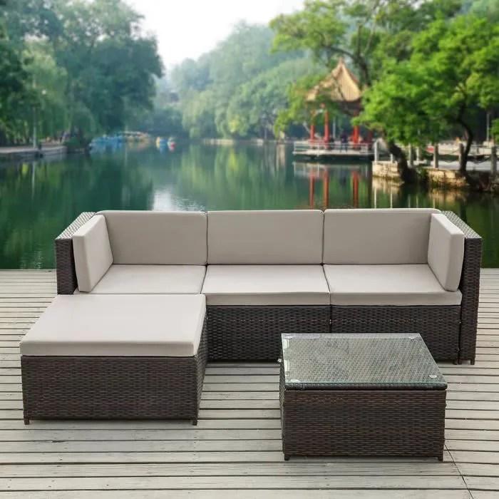 salon de jardin ikayaa set table canape 9 coussins gris meubles de