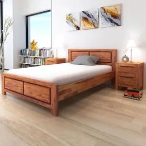 lit complet cadre de lit avec armoires acacia massif marron 14