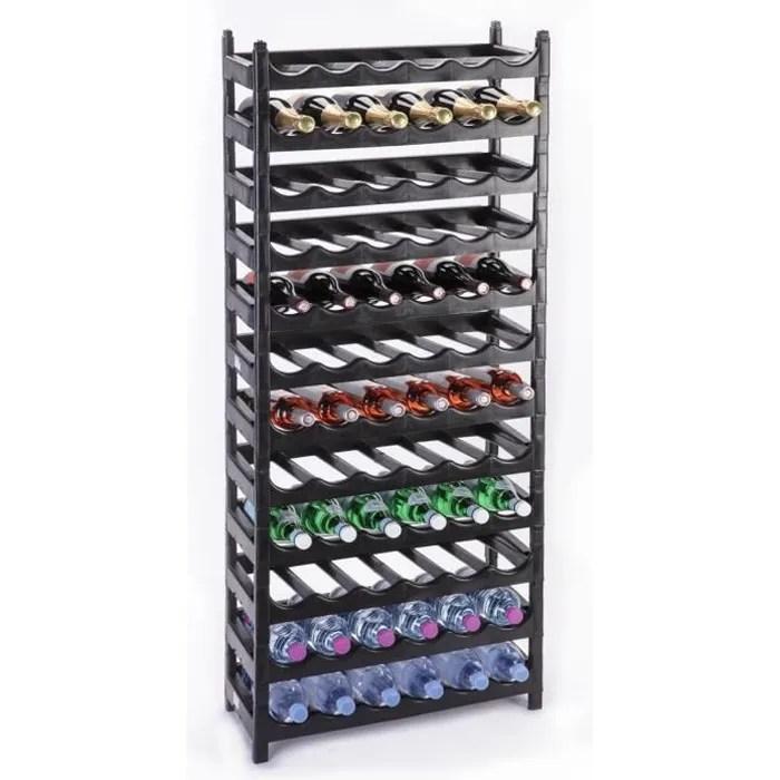 etagere a bouteille casier a vin modulable plastique noir 72 bouteilles noir