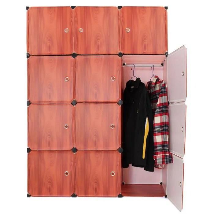 neufu armoire 12 porte avec etageres et penderie bricolage cabinet storage organizer quatre rouge