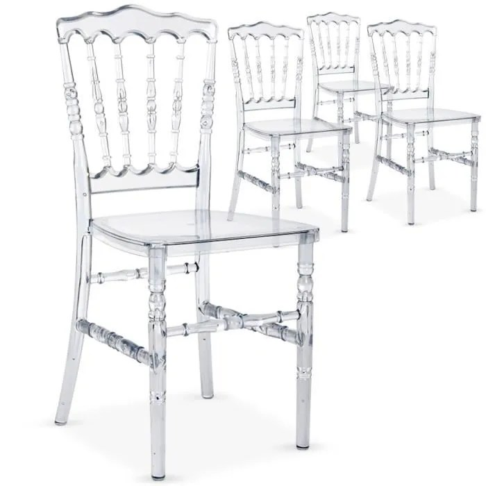 Lot De 4 Chaises Napoleon Plexi Transparent Achat