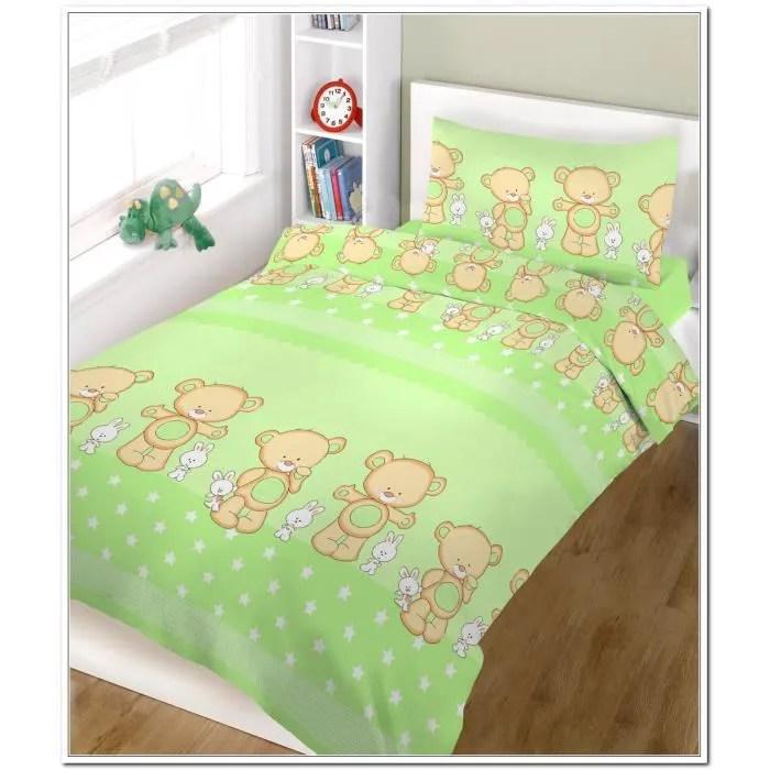 ensemble de literie 2 pieces pour lit bebe housse de couette de coussin 120 x 150 cm 47 x 59 vert heureux nounours