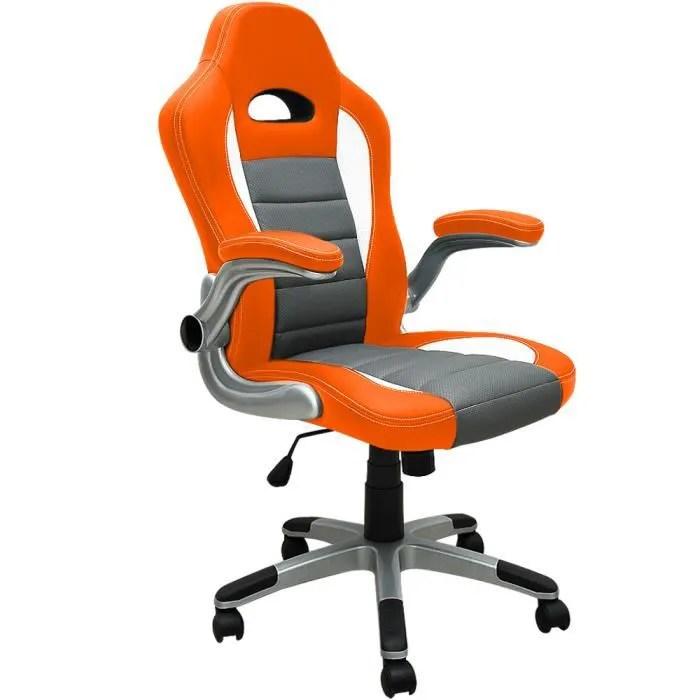 fauteuil de bureau orange et gris baquet pu