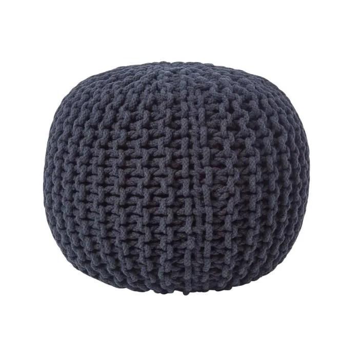 pouf en tricot rond noir