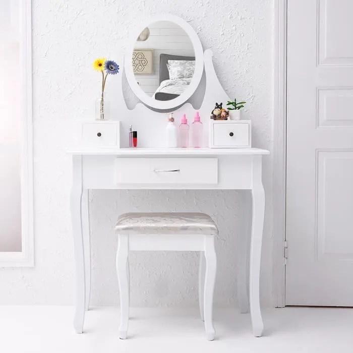 cclife coiffeuse blanche magnifique avec tabouret coiffeuse avec miroir fabrique a la main