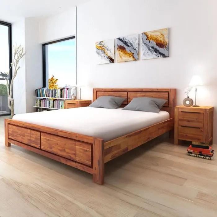 structure de lit vidaxl cadre de lit bois d acacia massif marron 18