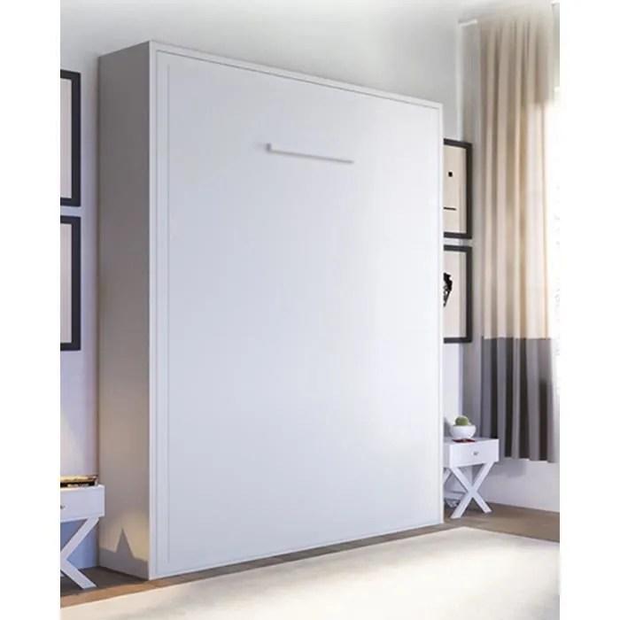 armoire lit escamotable joy 2 places 140 x 200 pieds a retournement automatique chene blanc