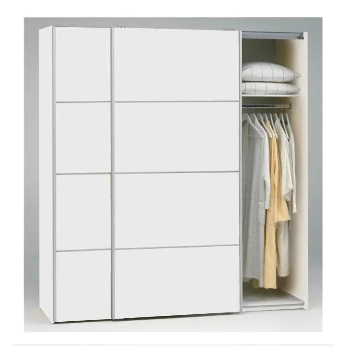 teen armoire 2 portes coulissantes 180cm blanc achat vente armoire de chambre teen armoire