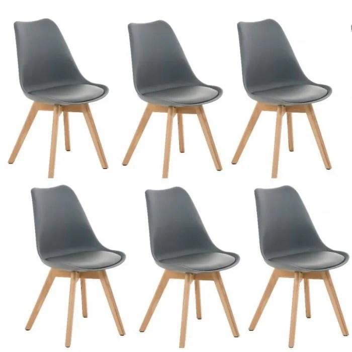 lot de 6 chaises de salle a manger scandinave pu gris pieds bois cds10202