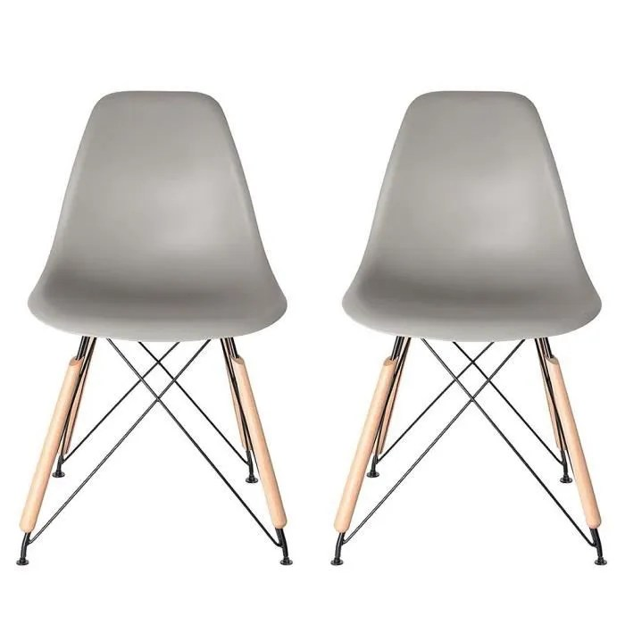 chaise chaises design scandi gris lot de 2