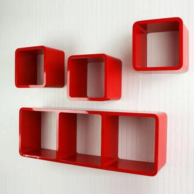 Tagre Cube Murale De 4 Pices Rouge Achat Vente