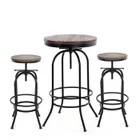 ensemble de table ronde bistro et tabourets de style industriel ikayaa pour 2 personnes table de bar en bois 2 tabourets de bar