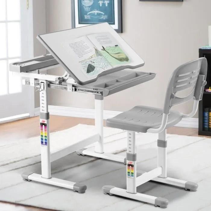 costway ensemble bureau et chaise pour enfant etudiant ensemble table chaise hauteur reglable avec tiroir inclinables gris