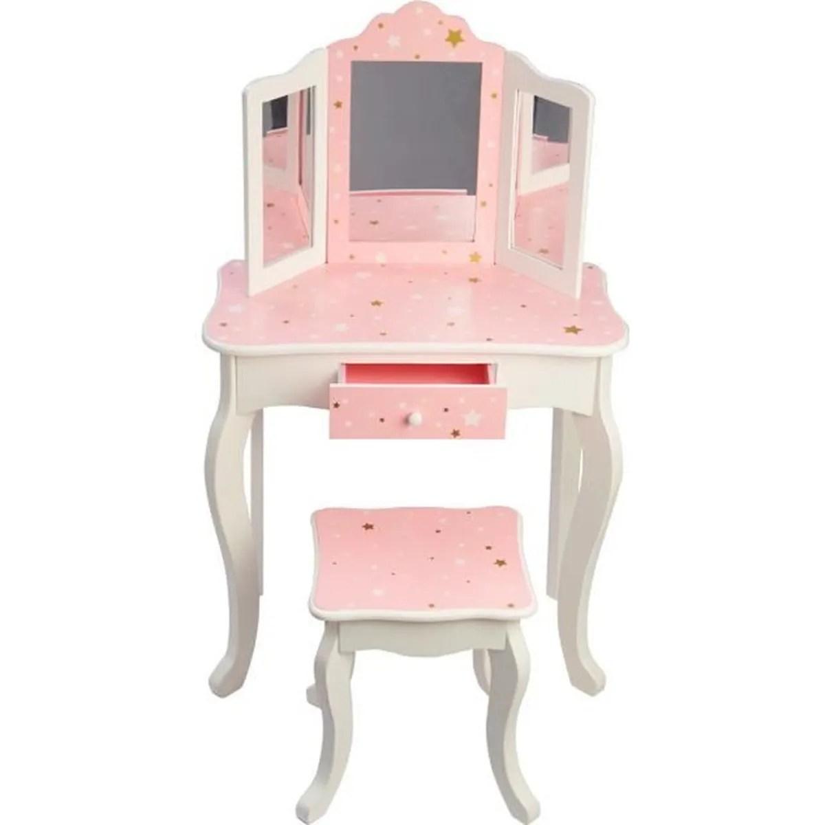 meuble coiffeuse table de maquillage bois pour enfant avec tabouret et miroir en rose avec motifs etoiles blancs et dores teamson