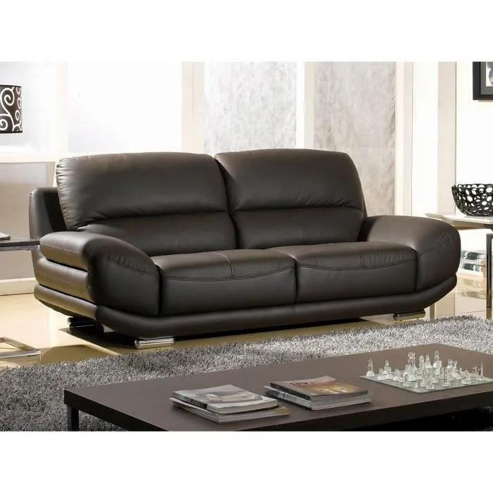 canape 3 places en cuir prestige marron barcelona