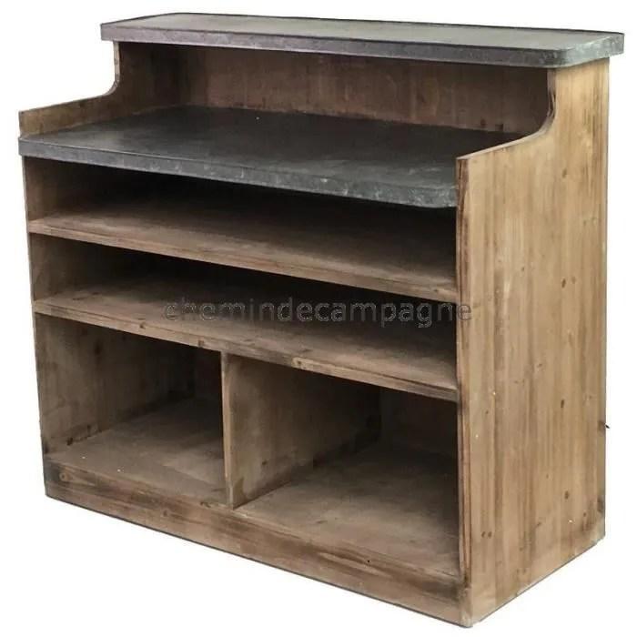 bar comptoir en bois et zinc 125 50 cm marron