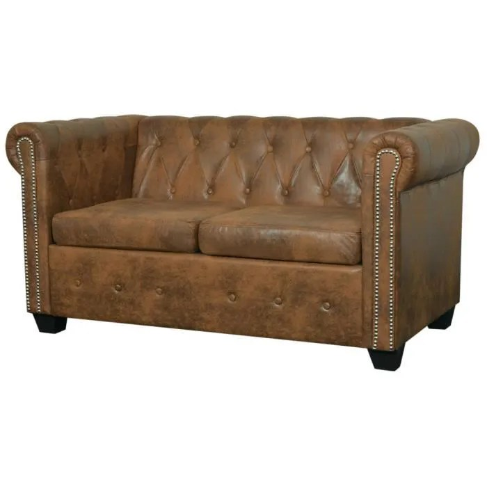 vidaxl canape chesterfield 2 places cuir artificiel marron