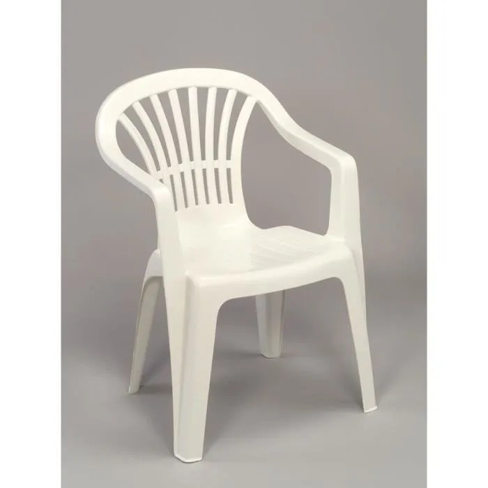 lot 4 fauteuils jardin plastique blanc empilables tiny