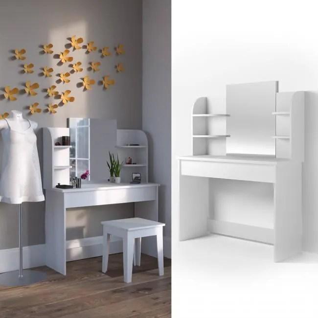 coiffeuse moderne et blanche grand miroir tiroir giulia