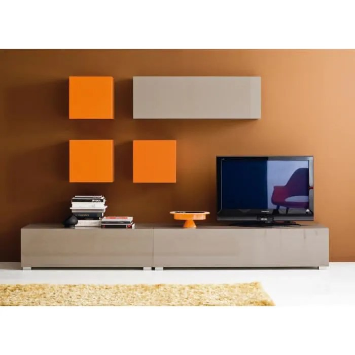 Meuble Tv Laqu Mural CUBE Orange Achat Vente Meuble