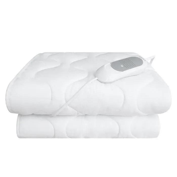 housse de lit chauffante a lit double blanc