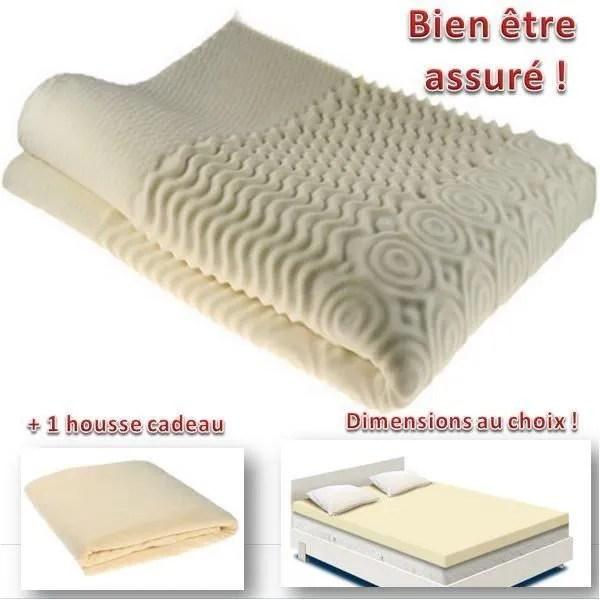 surmatelas mousse memoire de forme 80 x 200 cm bien etre sommeil confort housse