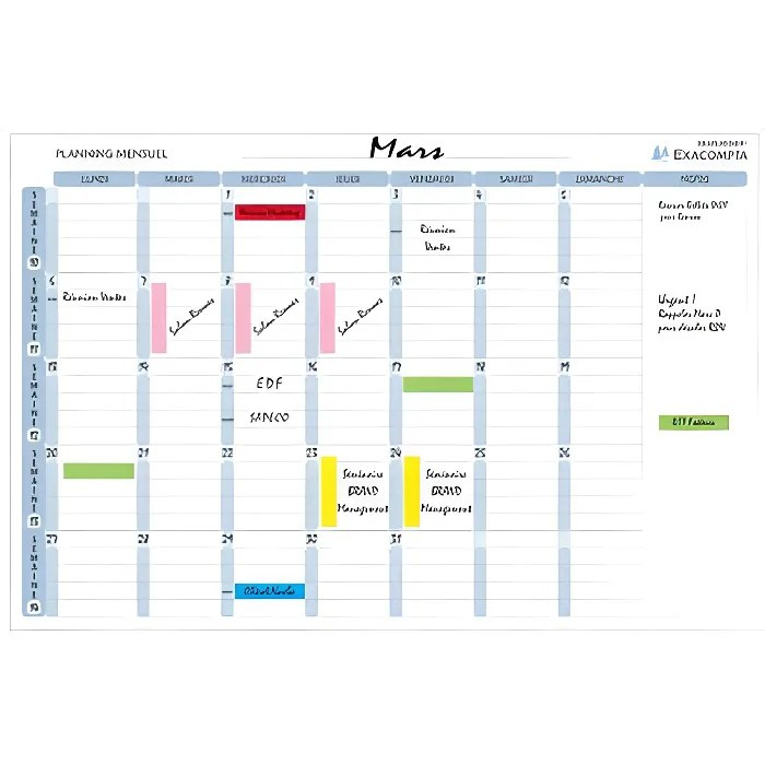 Planning Magnetique Mensuel 90x59 Accessoire Prix Pas