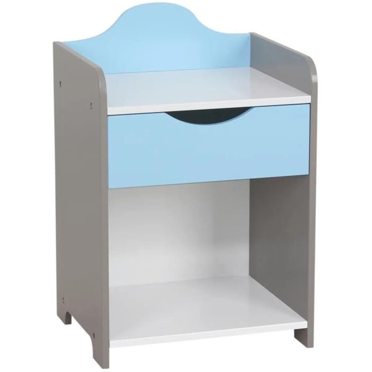 Table De Chevet Enfant En Bois Modle Scandinave Bleu