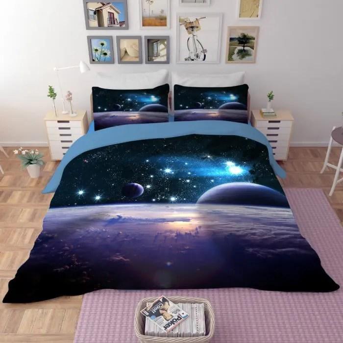 parure de lit romantique et belle planetes etoiles et vaisseau spatial 200 230 cm 3d effet 4 pieces