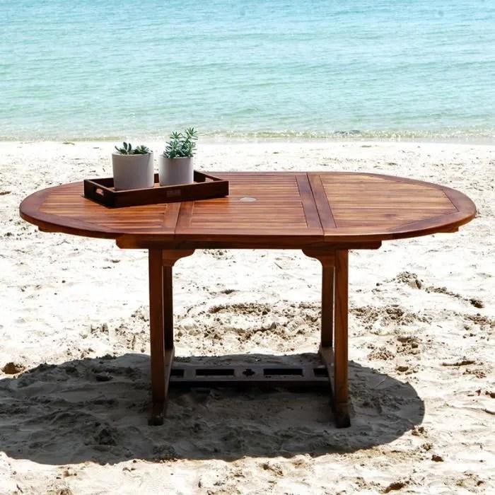 table de jardin teck huile 6 8 pers largeur 120cm