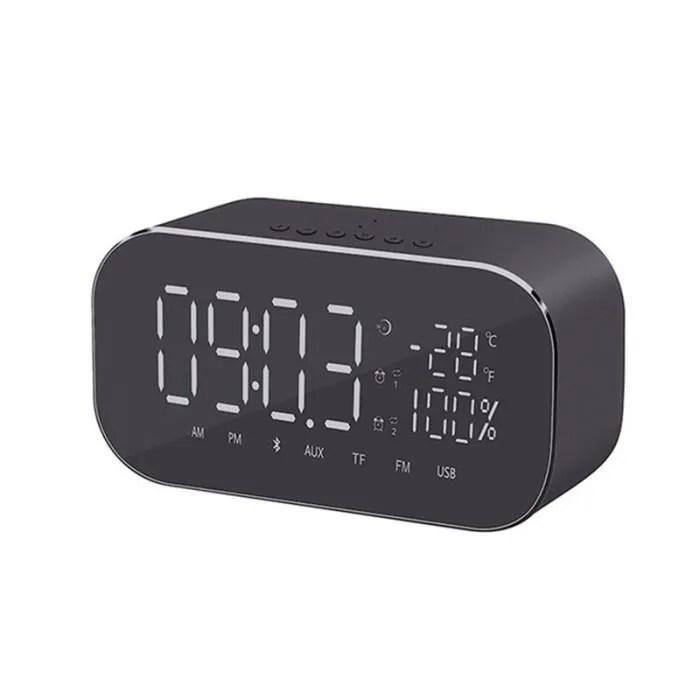 haut parleur et reveil bluetooth bureau thermometre audio fm radio noir